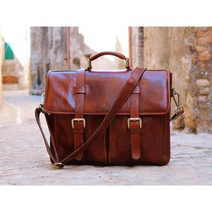 Leather English Briefcase Messenger Bag Floto Firenze Tuscany