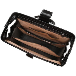 leather briefcase attache floto ciabatta black
