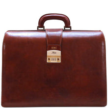 Load image into Gallery viewer, leather briefcase floto ciabatta combination lock monogram