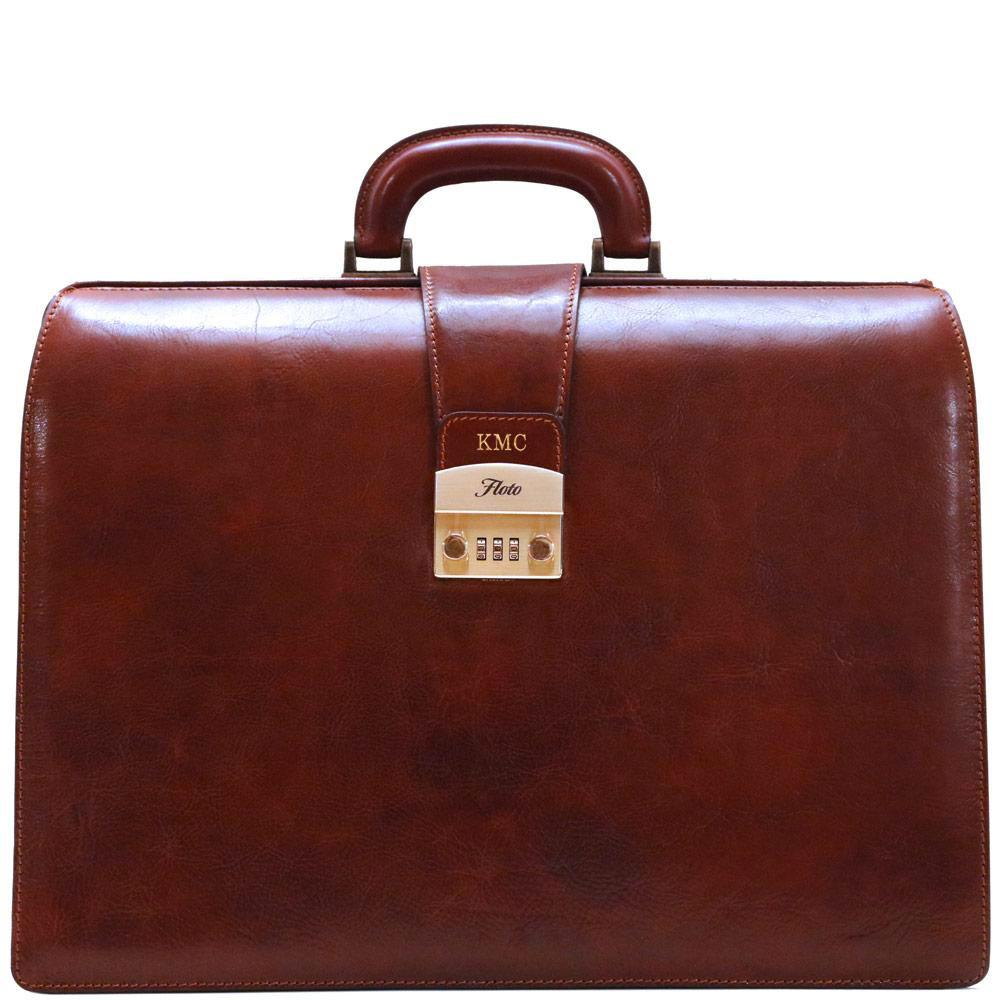 leather briefcase floto ciabatta combination lock monogram