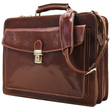 Load image into Gallery viewer, Floto Corsica Italian Leather Briefcase monogram brown 2