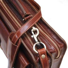 Load image into Gallery viewer, Floto Corsica Italian Leather Briefcase monogram brown 3