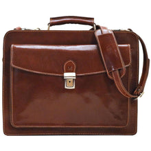 Load image into Gallery viewer, Floto Corsica Italian Leather Briefcase monogram brown