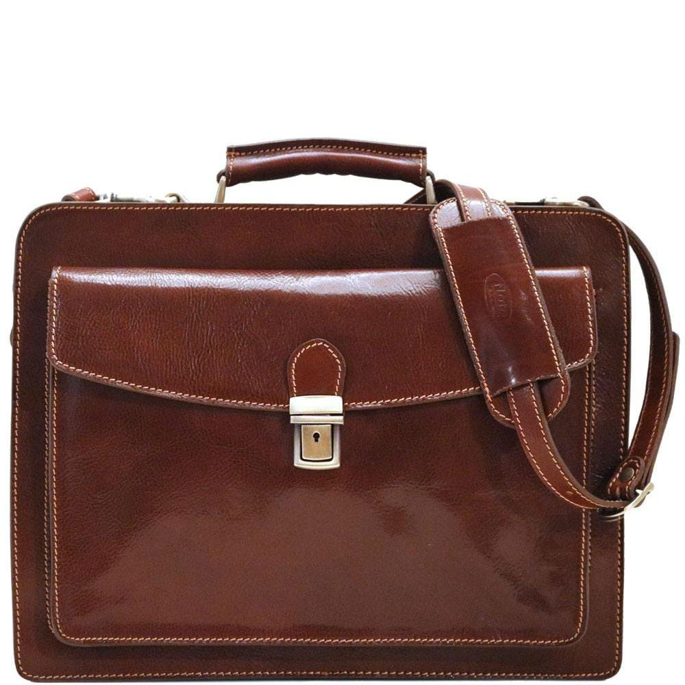 Floto Italian Leather Briefcase Attache Corsica Brown