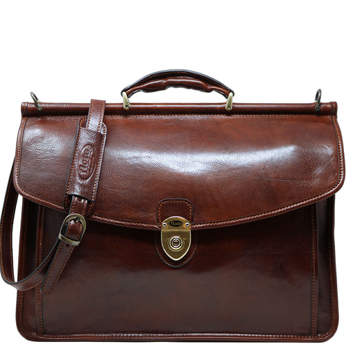 Floto Italian leather briefcase Firenze Dowell men's bag brown