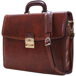leather briefcase milano combination lock
