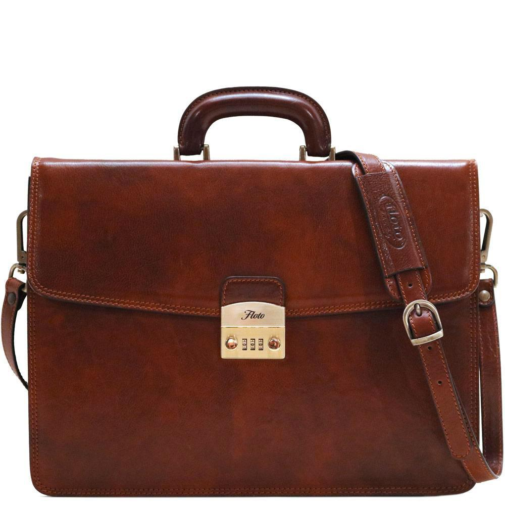 Floto Italian leather briefcase milano combination lock
