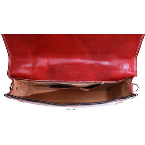 Floto Milano Leather Briefcase in Tuscan Red