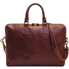 Load image into Gallery viewer, Leather Slim Briefcase Floto Milano monogram brown