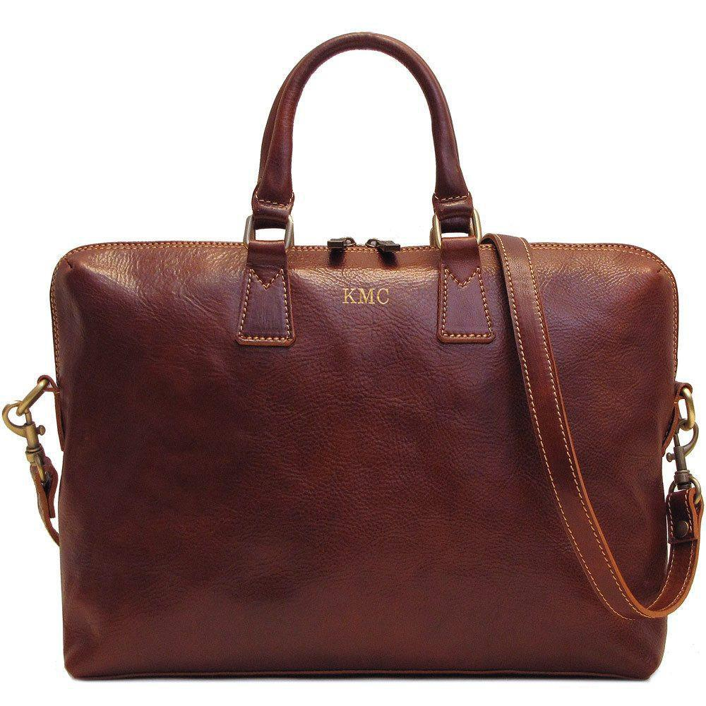 Leather Slim Briefcase Floto Milano monogram brown