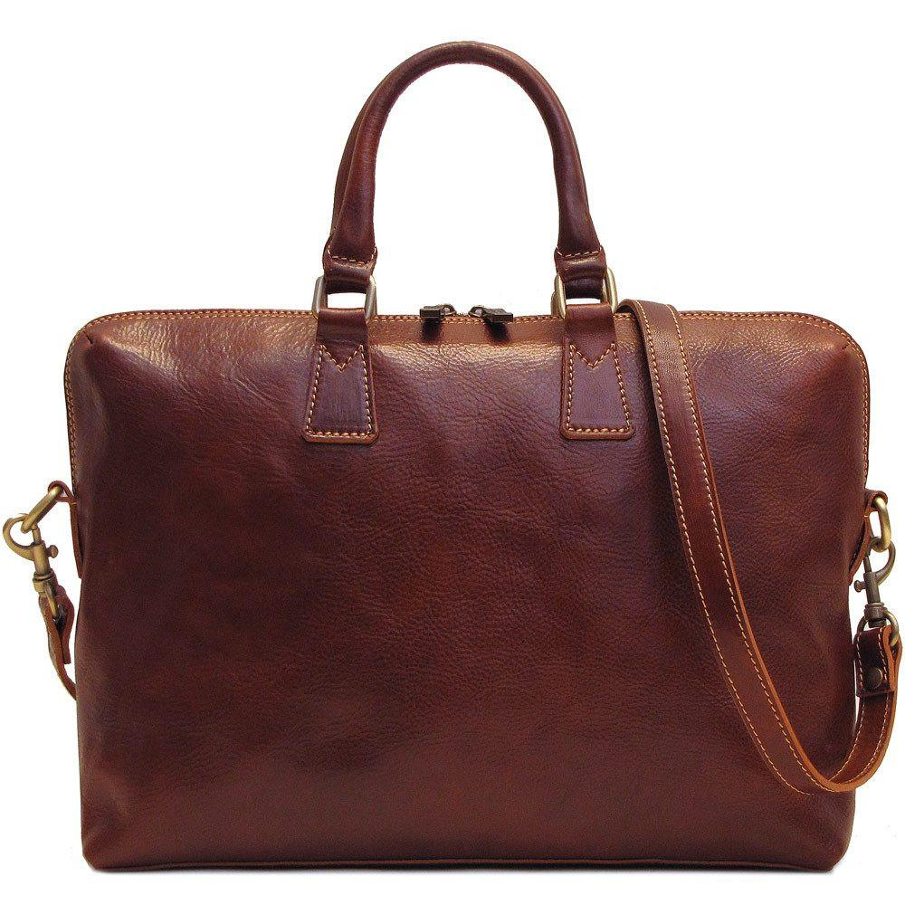 Leather Slim Briefcase Floto Milano brown
