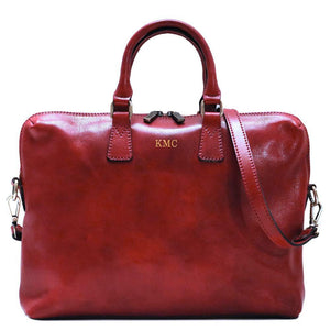 Leather Slim Briefcase Floto Milano monogram red