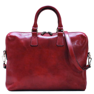Leather Slim Briefcase Floto Milano red