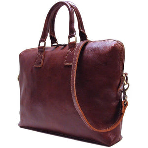 Leather Slim Briefcase Floto Milano side