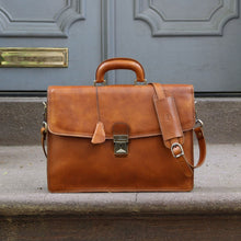 Load image into Gallery viewer, Leather Briefcase Floto Italian Milano Bag tobacco brown 3