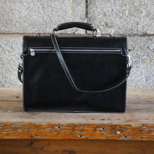 Load image into Gallery viewer, Leather Roller Buckle Briefcase Floto Novella black back