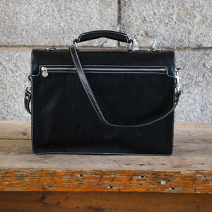 Leather Roller Buckle Briefcase Floto Novella black back view