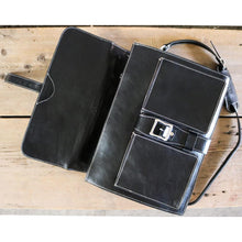 Load image into Gallery viewer, Leather Roller Buckle Briefcase Floto Novella black inside