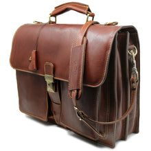 Load image into Gallery viewer, Leather Briefcase Floto Novella Italian Messenger Bag Attache monogram brown 2