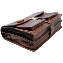 Load image into Gallery viewer, Leather Briefcase Floto Novella Italian Messenger Bag Attache monogram brown 3
