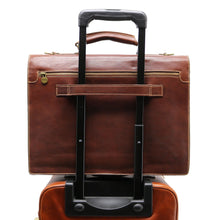 Load image into Gallery viewer, Leather Briefcase Floto Novella Italian Messenger Bag Attache brown 7