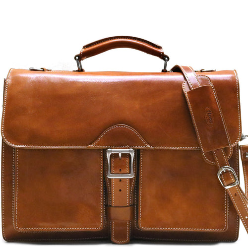 Leather Roller Buckle Briefcase Floto Novella olive honey brown