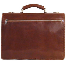 Load image into Gallery viewer, Leather Briefcase Floto Novella Italian Messenger Bag Attache monogram brown 4