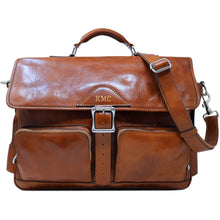 Load image into Gallery viewer, Leather Messenger Bag Floto Roma Roller Buckle monogram olive honey brown