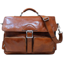 Load image into Gallery viewer, Leather Messenger Bag Floto Roma Roller Buckle olive