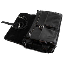 Load image into Gallery viewer, Leather Messenger Bag Floto Roma Roller Buckle black 2
