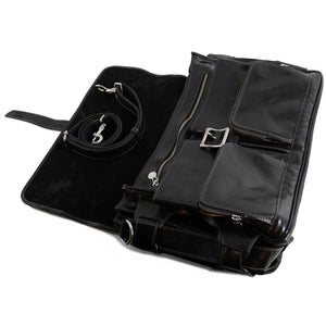 Leather Messenger Bag Floto Roma Roller Buckle black 2