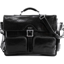 Load image into Gallery viewer, Leather Messenger Bag Floto Roma Roller Buckle monogram black