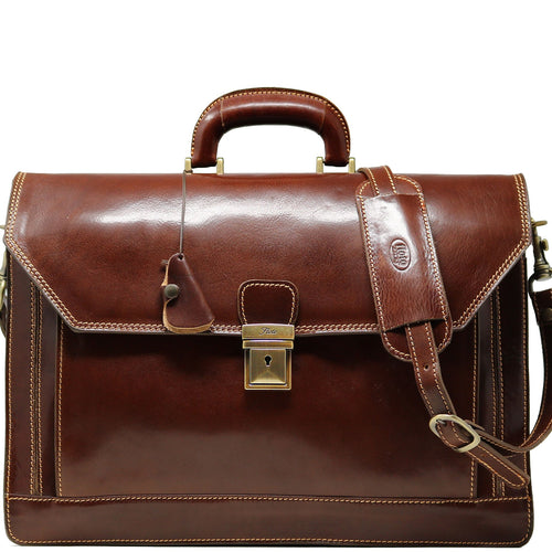 Floto Italian Leather Briefcase Attache Venezia 3 Gusset brown