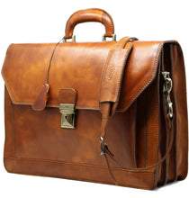 Load image into Gallery viewer, Floto Italian Leather Briefcase Attache Venezia 3 Gusset Tobacco Brown 2