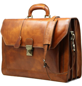 Floto Italian Leather Briefcase Attache Venezia 3 Gusset Tobacco Brown 2
