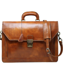 Load image into Gallery viewer, Floto Italian Leather Briefcase Attache Venezia 3 Gusset tobacco brown