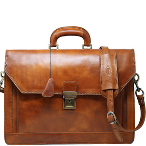 Floto Italian Leather Briefcase Attache Venezia 3 Gusset tobacco brown