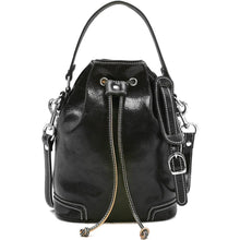 Load image into Gallery viewer, Italian leather bucket bag satchel floto ciabatta black