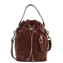 Load image into Gallery viewer, Italian leather bucket bag satchel floto ciabatta brown