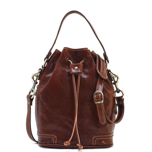 Italian leather bucket bag satchel floto ciabatta brown