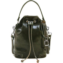 Load image into Gallery viewer, Italian leather bucket bag satchel floto ciabatta green