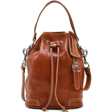 Load image into Gallery viewer, Italian leather bucket bag satchel floto ciabatta olive brown