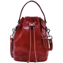 Load image into Gallery viewer, Italian leather bucket bag satchel floto ciabatta red