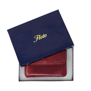 Floto Italian Leather Card Case Wallet packaging red