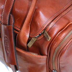 Floto Leather Cargo Duffle Bag Brown Small floto