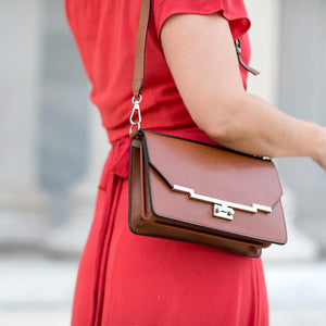Leather Clutch Floto Firenze in Saffiano - brown model