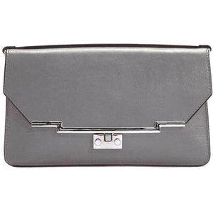 Leather Clutch Floto Firenze in Saffiano - grey
