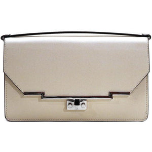 Leather Clutch Floto Firenze in Saffiano - ivory