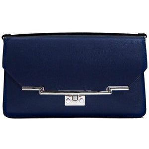 Leather Clutch Floto Firenze in Saffiano - navy blue