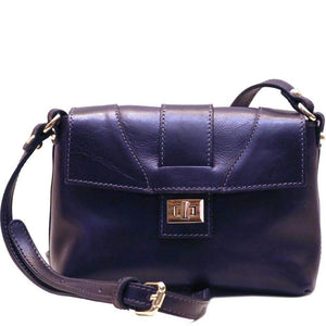 Floto Sapri Leather Bag in full grain calfskin blue